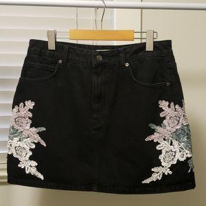Denim Black Floral Embroidered Skirt - Topshop